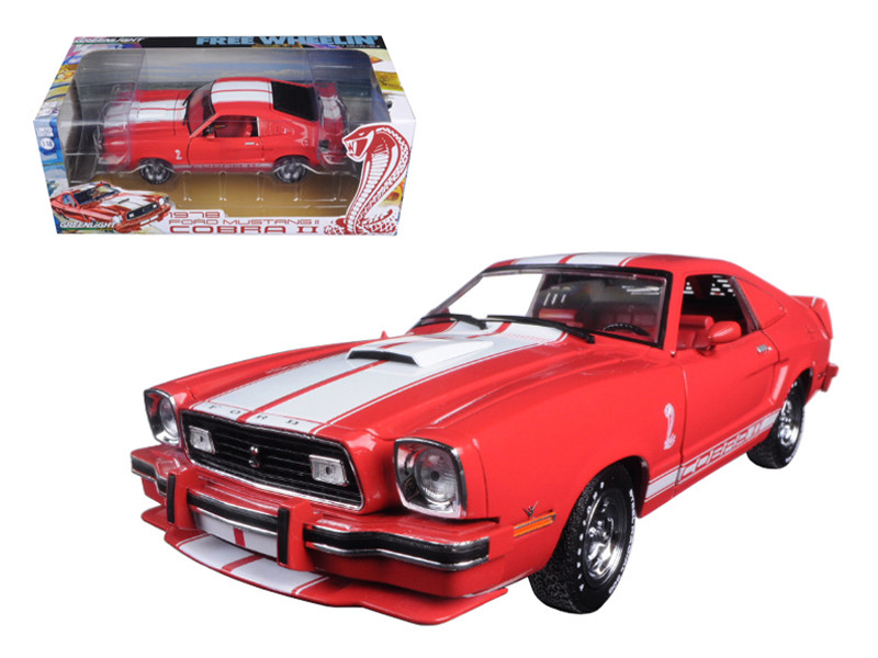 1978 Ford Mustang II Cobra II Free Wheelin' Red with White Stripes 1/18 Diecast Model Car Greenlight 12940