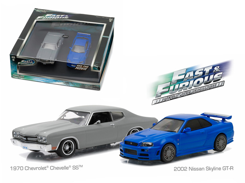 """1970 Chevrolet Chevelle SS Grey and 2002 Nissan Skyline GT-R Blue Drag Scene """"Fast and Furious"""" Movie (2009) Diorama Set 1/43 Diecast Model Cars Greenlight 86252"""