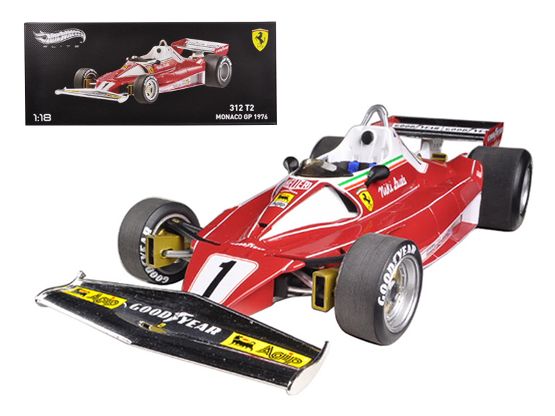 1976 Ferrari 312 T2 #1 Niki Lauda Monaco GP Elite Edition 1/18 Diecast Car Model by Hotwheels