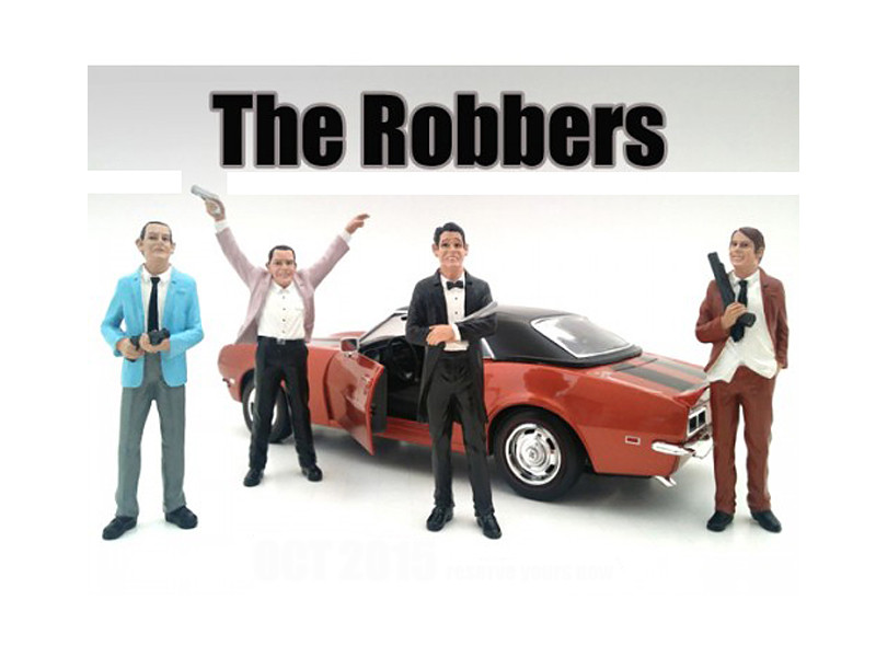 """""""The Robbers"""" 4 Piece Figure Set For 1:24 Scale Models American Diorama 23921 23922 23923 23924"""