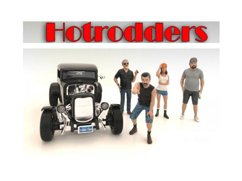 """Hotrodders"" 4 Piece Figure Set For 1:18 Scale Models American Diorama 24007 24008 24009 24010"