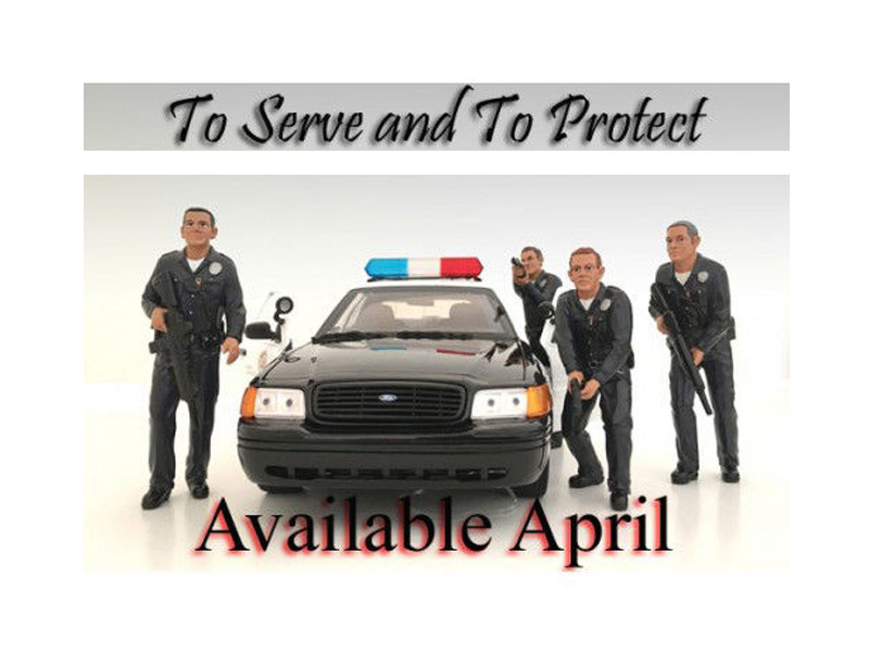 Police Officers 4 Piece Figure Set For 1:18 Scale Models by American Diorama 24011 24012 24013 24014