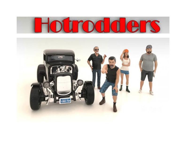 """Hotrodders"" 4 Piece Figure Set For 1:24 Scale Models American Diorama 24027 24028 24029 24030"
