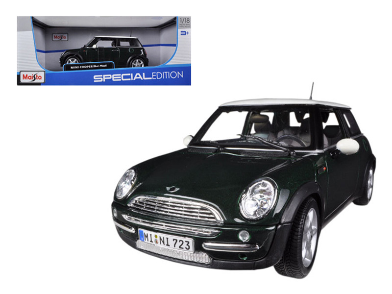 Mini Cooper With Sunroof Green 1/18 Diecast Model Car Maisto 31656