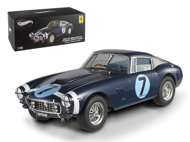 1961 Ferrari 250 GT Berlinetta Passo Corto \'SWB\' Goodwood Tourist Trophy #7 Blue Elite Edition 1/18 Diecast Model Car by Hotwheels