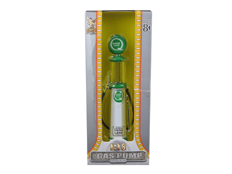 Quaker State Gasoline Vintage Gas Pump Cylinder 1/18 Diecast Replica Road Signature 98802