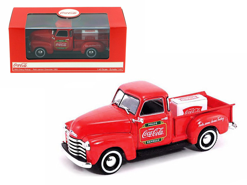 1953 Chevrolet Pickup Truck with Metal Cooler Coca Cola 1/43 Diecast Model Motorcity Classics 478104