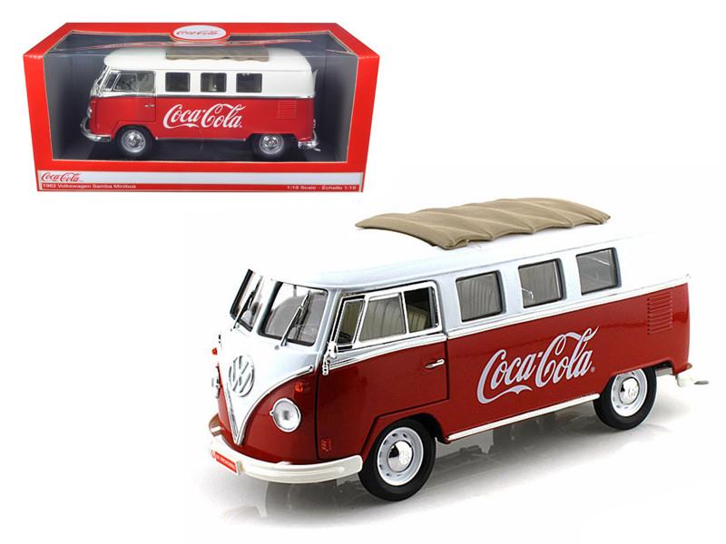 "1962 Volkswagen Samba Bus Van ""Coca Cola"" Red/White 1/18 Motorcity Classics 397471"