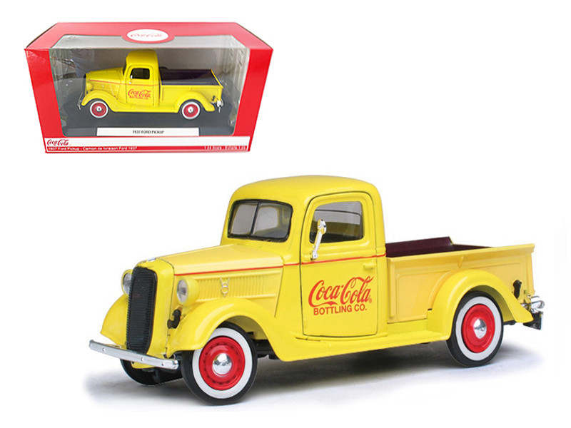 1937 Ford Pickup Truck Coca Cola Yellow 1/24 Diecast Model Truck Motorcity Classics 433213