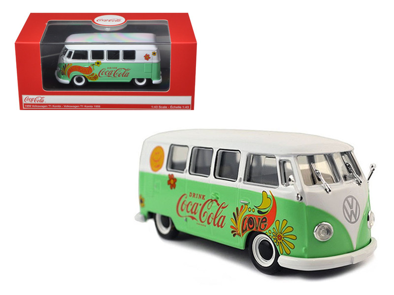 1959 Volkswagen T1 Samba Bus Coca Cola Flowers Version 1/43 Diecast Model Motorcity Classics 478064