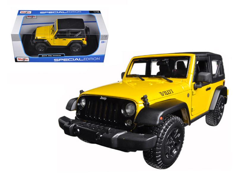 2014 Jeep Wrangler Willys Yellow 1/18 Diecast Model Car by Maisto