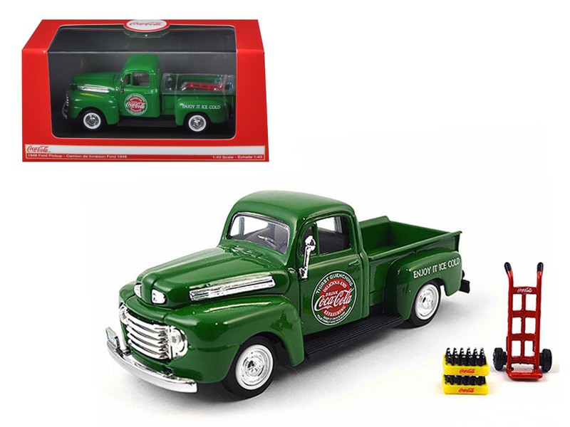 1948 Ford Pickup Truck Coca Cola Green with Coke Bottle Cases and Hand Cart 1/43 Diecast Model Car Motorcity Classics 467431