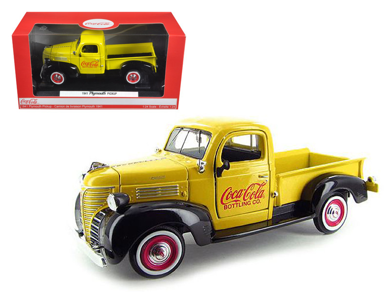 """1941 Plymouth Pickup Truck Yellow \Coca Cola\"""" 1/24 Diecast Car Model by Motorcity Classics"""""""""""""""
