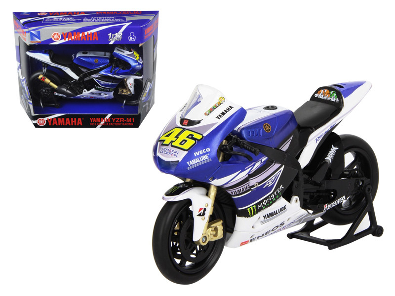 "2013 Yamaha YZR-M1 Valentino Rossi \Monster"" Moto GP #46 Motorcycle Model 1/12 by New Ray"""""""