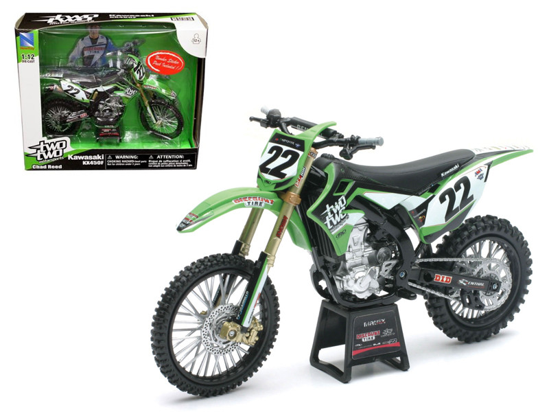 "Kawasaki KX 450F \Two Two Motorsports"" Chad Reed #22 Bike Motorcycle Model 1/12 Diecast Model by New Ray """""""