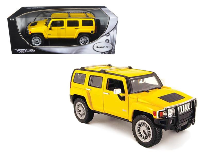 Hummer H3 Yellow 1/18 Diecast Model Car Hotwheels H3055