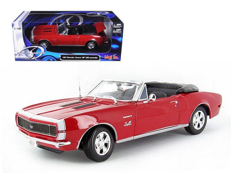 1967 Chevrolet Camaro SS 396 Convertible Red 1/18 Diecast Model Car by Maisto