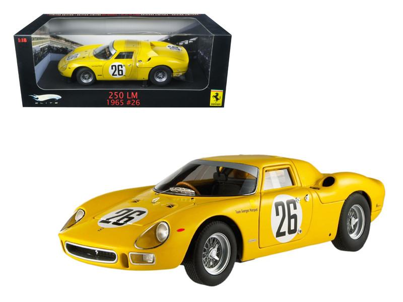 1965 Ferrari 250 LM #26 Elite Edition Team Georges Marquet Dumay/Gosselin 1/18 Diecast Car Model by Hotwheels
