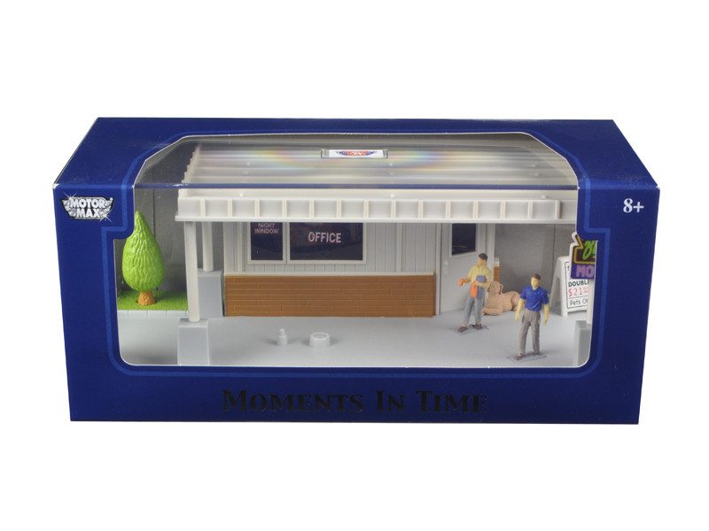 """Big 8 Motel Scene"" Diorama Put Your Own Car Inside 1/43 Motormax 73863 N"