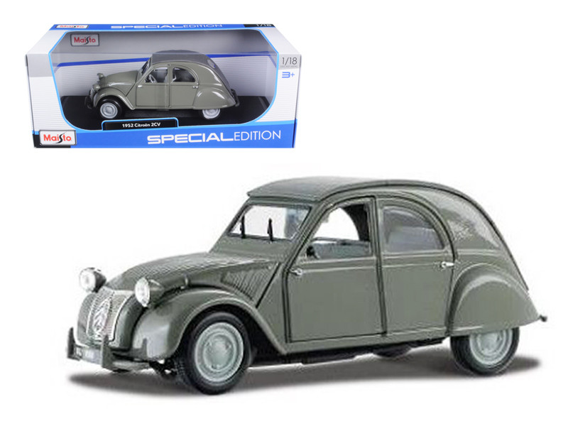 1952 Citroen 2CV Grey 1/18 Diecast Model Car by Maisto