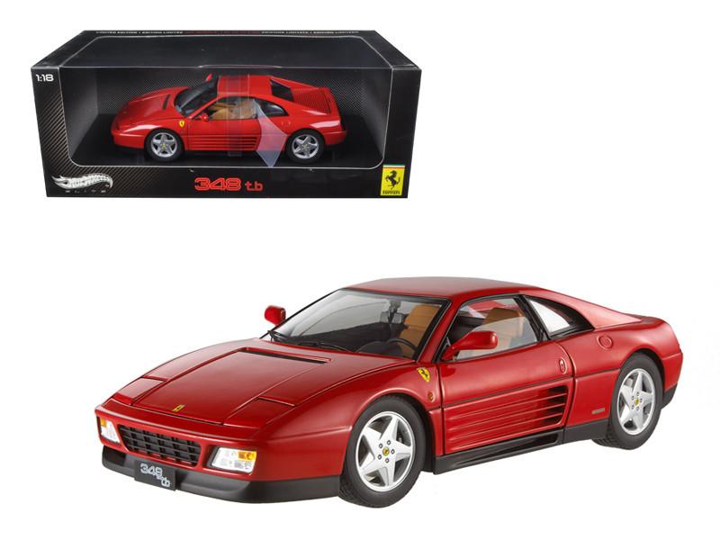 1989 Ferrari 348 TB Red Elite Edition 1/18 Diecast Car Model by Hotwheels