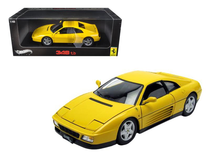 1989 Ferrari 348 TB Yellow Elite Edition 1/18 Diecast Car Model by Hotwheels
