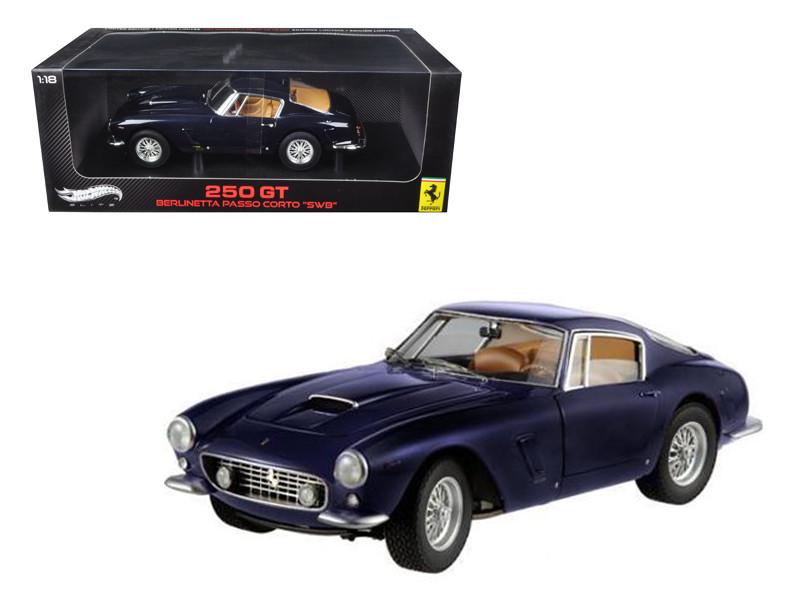 "1961 Ferrari 250 GT Berlinetta Passo Corto ""SWB"" Blue Elite Edition 1/18 Hotwheels W1180"