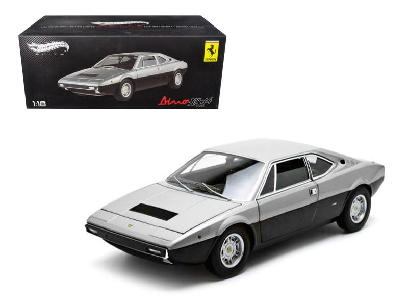 1973 Ferrari Dino 308 GT4 Silver/Black Elite Edition 1/18 Diecast Car Model by Hotwheels