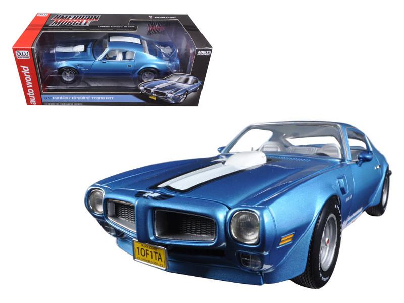 1972 Pontiac Firebird Trans Am Adriatic Blue Limited Edition to 1002pc 1/18 Diecast Model Car Autoworld AMM1076