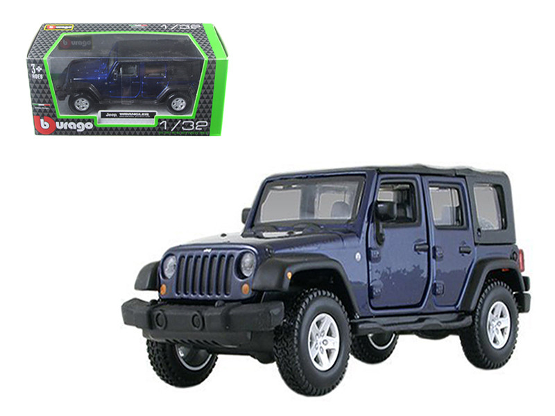 Jeep Wrangler Unlimited Rubicon 4 Doors Blue 1/32 Diecast Car Model Bburago 43012