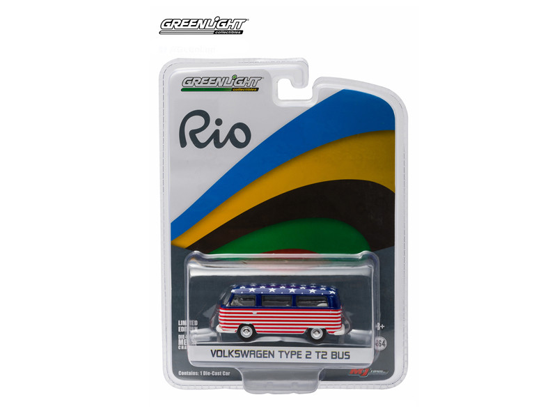 2016 World Games Rio Volkswagen Type 2 Bus Team USA 1/64 Diecast Model Car Greenlight 51037 USA