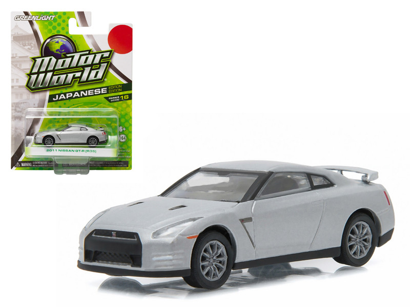 2011 Nissan GT-R R35 Silver 1/64 Diecast Model Car Greenlight 96160 E