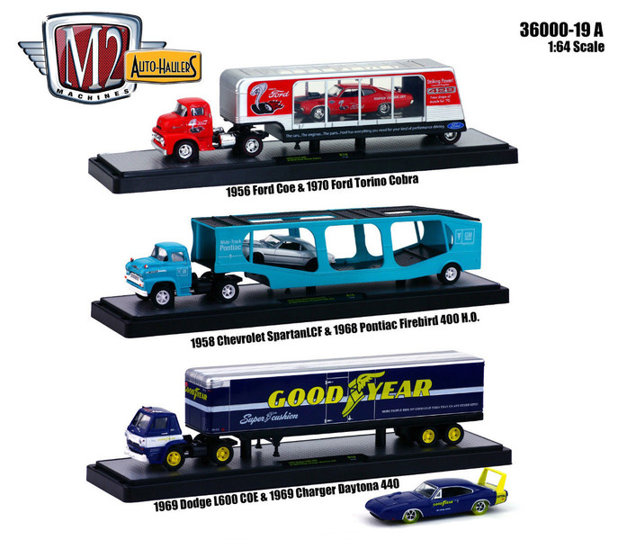 "Auto Haulers Release 19 ""A"", 3 Trucks Set 1/64 Diecast Models M2 Machines 36000-19 A"