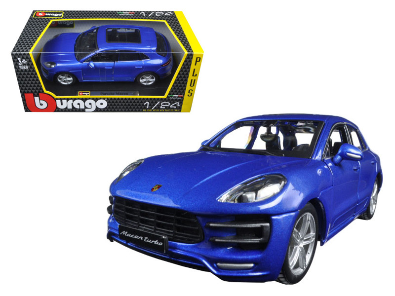 Porsche Macan Turbo Blue 1/24 Diecast Model Car BBurago 21077