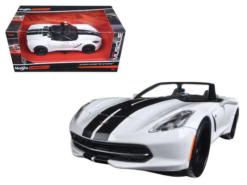 "2014 Chevrolet Corvette Stingray Convertible White/Black ""Modern Muscle"" 1/24 Diecast Model Car Maisto 32501"