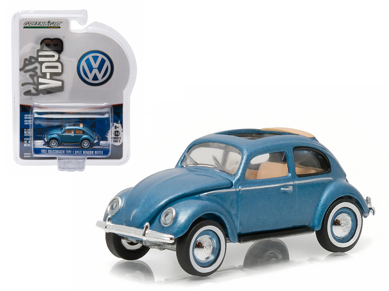 1951 Volkswagen Type 1 Split Window Beetle Azure Blue with Sunroof 1/64 Diecast Model Car by Greenlight