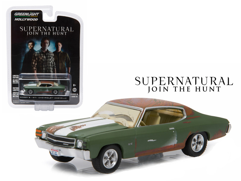 """Bobby's 1971 Chevrolet Chevelle SS Supernatural """"2005 Current TV Series"""" 1/64 Diecast Model Car Greenlight 44740 A"""