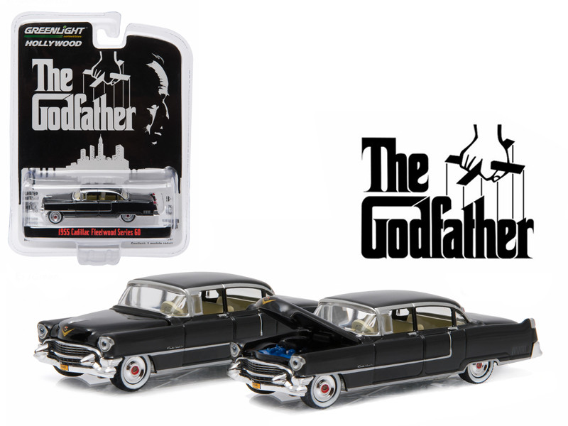 "1955 Cadillac Fleetwood Series 60 Special ""The Godfather"" (1972) 1/64 Diecast Model Car Greenlight 44740 B"