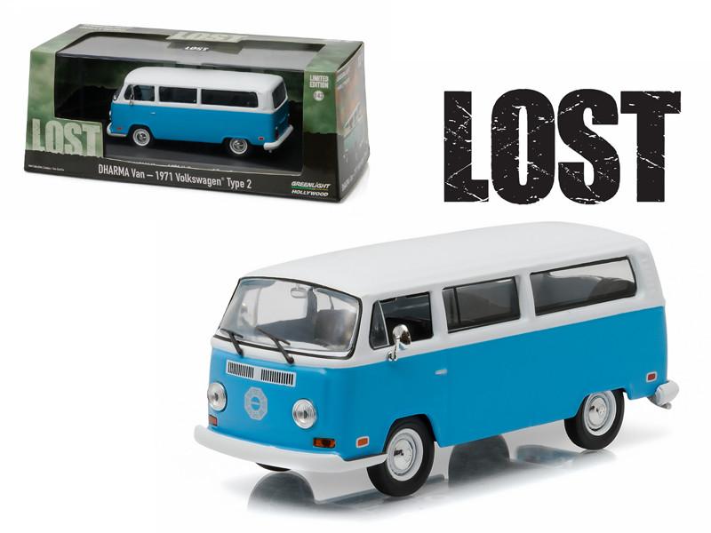 "1971 Volkswagen Type 2 T2B ""Dharma"" Van ""Lost"" TV Series (2004-2010) 1/43 Diecast Model Car Greenlight 86471"