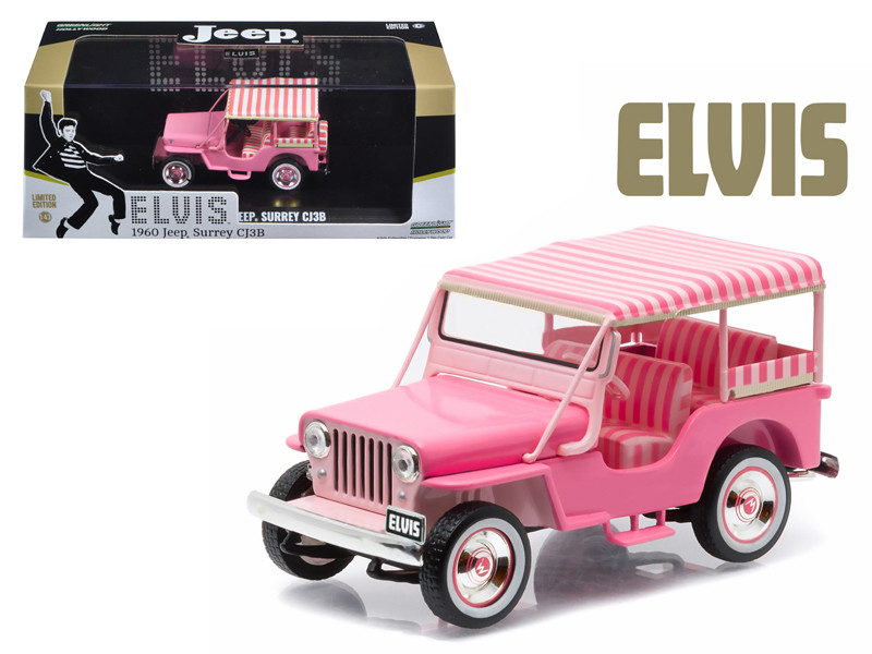 "1960 Jeep Surrey CJ3B ""Pink Jeep"" Elvis Presley (1935-1977) 1/43 Diecast Model Car Greenlight 86472"