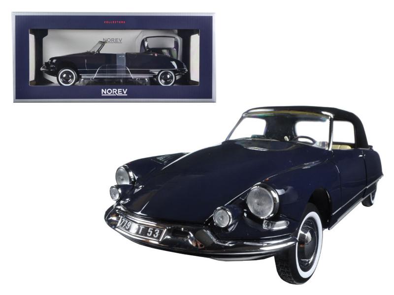 1961 Citroen DS19 Cabriolet Convertible Royal Blue 1/18 Diecast Model Car by Norev