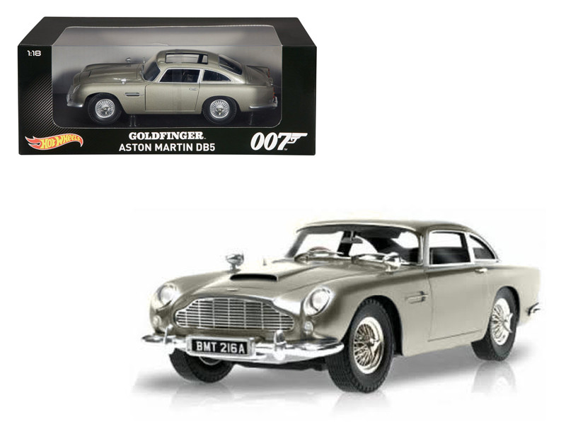 "Aston Martin DB5 Silver James Bond 007 From \Goldfinger"" Movie 1/18 Diecast Model Car by Hotwheels"""""""