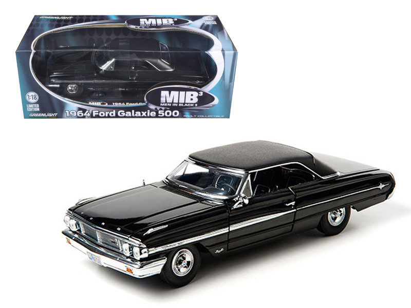"1964 Ford Galaxie 500 Black From MIB \Men In Black 3"" Movie Limited Edition 1/18 Diecast Model Car by Greenlight"""""""