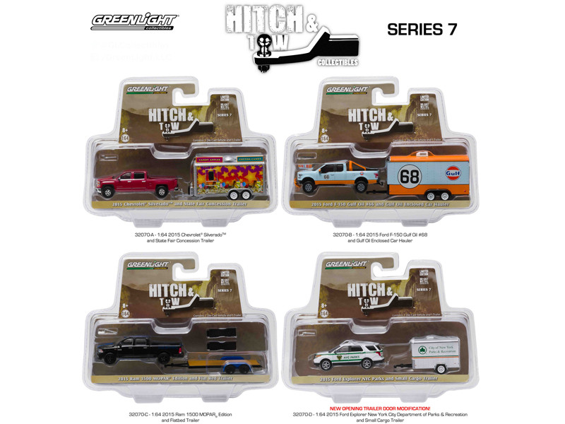 Hitch & Tow Series 7 Set of 4 1/64 Diecast Model Cars Greenlight 32070