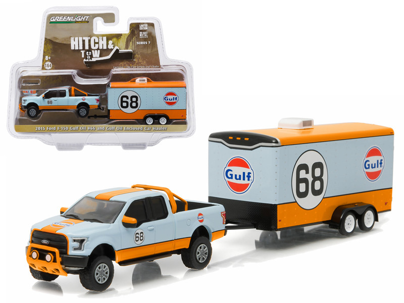 """2015 Ford F-150 Pickup Truck #68 """"Gulf Oil"""" and Enclosed Car Hauler Hitch & Tow Series 7 1/64 Diecast Car Model Greenlight 32070 B"""