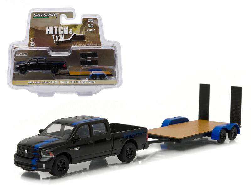2015 Dodge Ram Pickup Truck Mopar Edition & Flatbed Trailer Hitch & Tow Series 7 1/64 Diecast Car Model Greenlight 32070 C