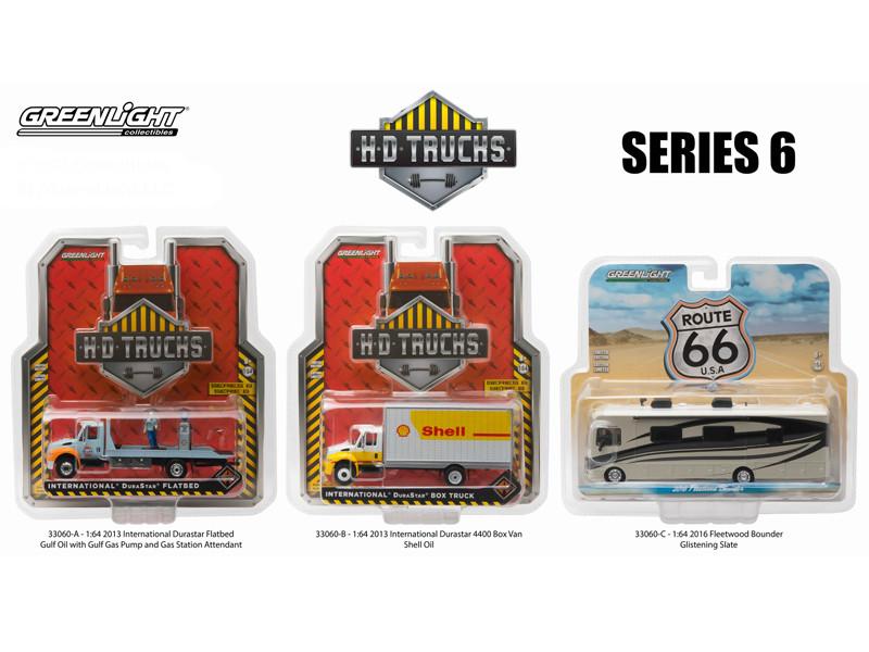 Heavy Duty Trucks Series 6 Set of 3 1/64 Diecast Models Greenlight 33060