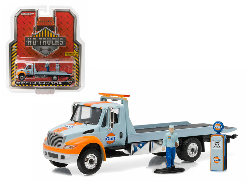 2013 International Durastar Flatbed Tow Truck with Gas Pump and Gas Station Attendant HD Trucks Series 6 1/64 Diecast Model Greenlight 33060 A