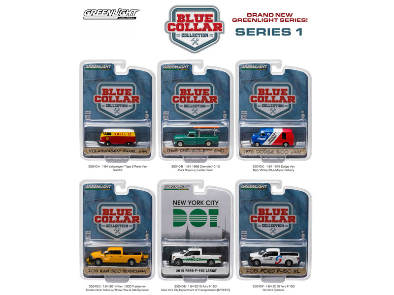 Blue Collar Collection Release 1 6pc Set 1/64 Diecast Car Models Greenlight 35040