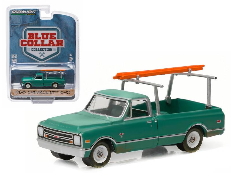 1968 Chevrolet C-10 Pickup Truck Dark green with Ladder Rack Blue Collar Collection 1 1/64 Greenlight 35040 B